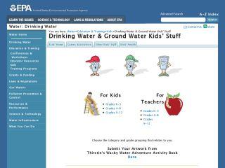 Náhled odkazu https://www3.epa.gov/safewater/kids/index.html