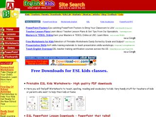 Náhled odkazu http://www.english-4kids.com/downloads.html