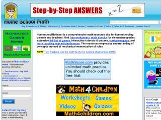Náhled odkazu http://www.homeschoolmath.net/