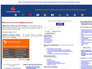 Náhled odkazu http://www.canada-esl.com/lessonsindex.html