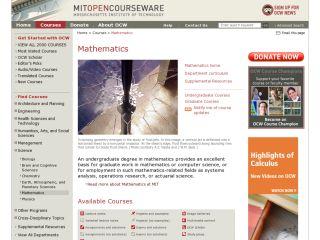 Náhled odkazu https://ocw.mit.edu/courses/mathematics/