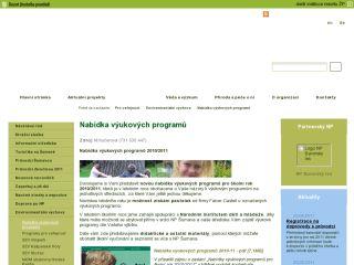 Náhled odkazu http://www.npsumava.cz/cz/1550/sekce/nabidka-vyukovych-programu/